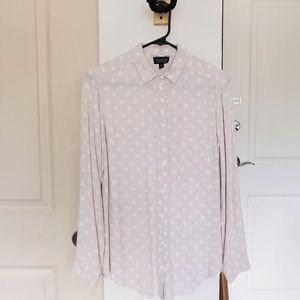 Topshop cream and white polka dot blouse